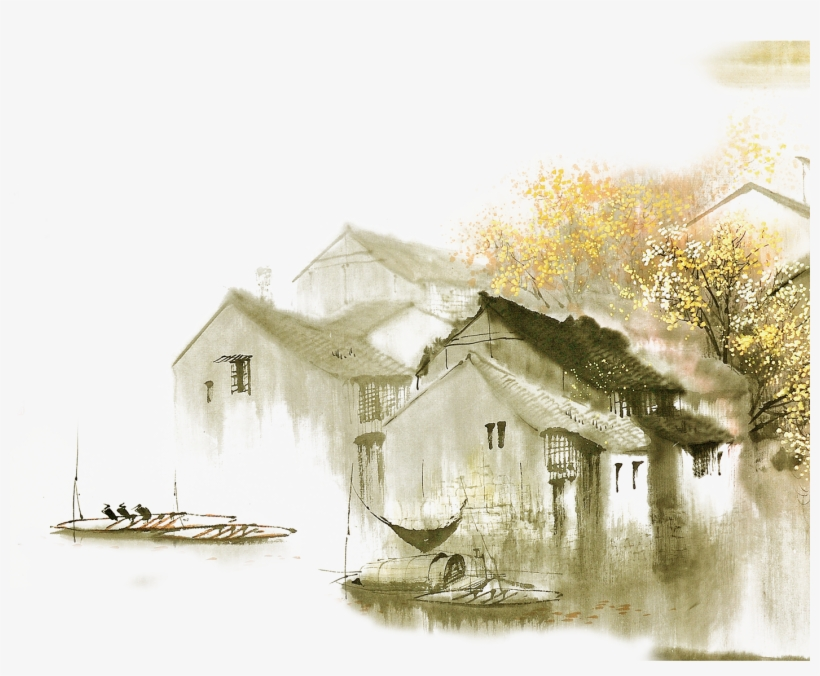 Dwelling In The Fuchun Mountains Jiangnan Ink Wash - Watercolor Trees Elevation, transparent png #168985