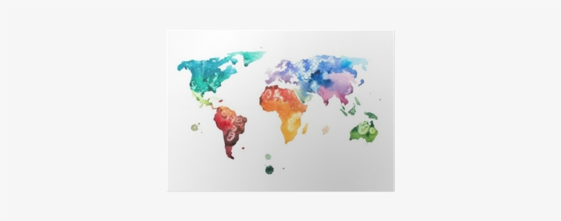Framed Magnetic World Map.Hand Drawn Watercolor World Map Aquarelle Illustration Living
