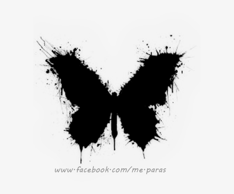 Abstract Black Butterfly Tattoo With Some White Accents - Black Butterfly Tattoo, transparent png #169674