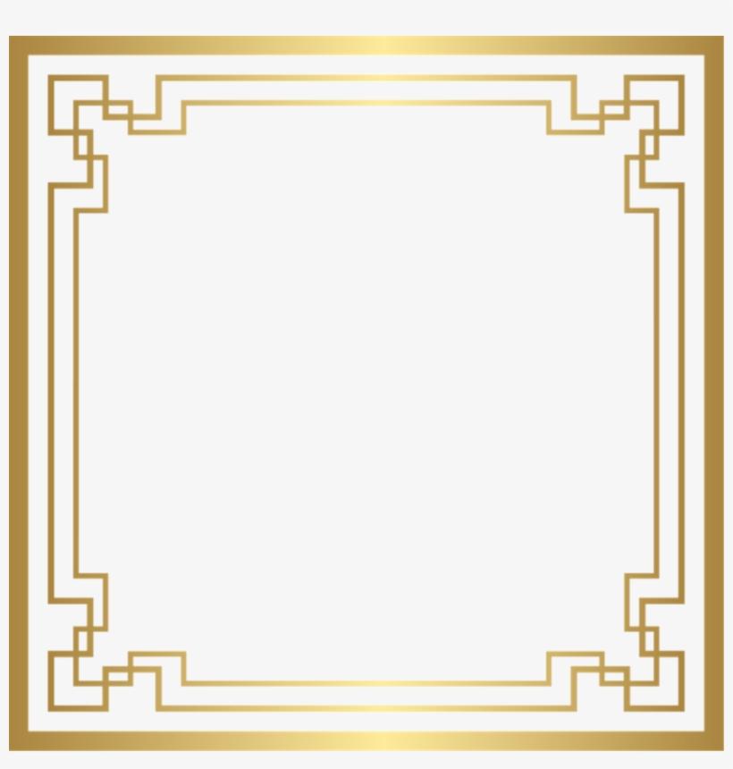 Square Gold Golden Frame Border Squareframe Decoration - Art Deco Frame Clipart, transparent png #1602215