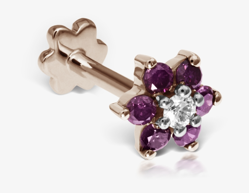 Rose-purple Diamond Flower - 7mm Purple Diamond Flower Traditional Stud, transparent png #1606621