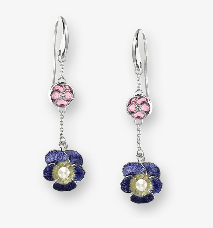 Nicole Barr Designs Sterling Silver Pansy Wire Earrings-purple - Nicole Barr Pansy Dangle Earrings, transparent png #1606833