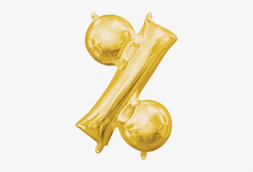 "16"" Letters - Gold Percentage Balloon - 16"" Foil (each), transparent png #1607412"