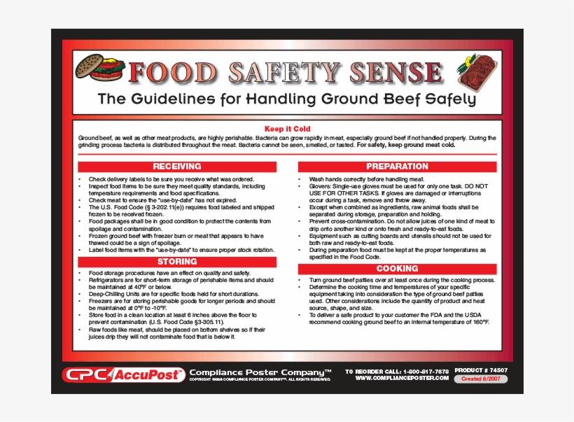 Food Safety Sense Handling Ground Beef Poster - Food - Free