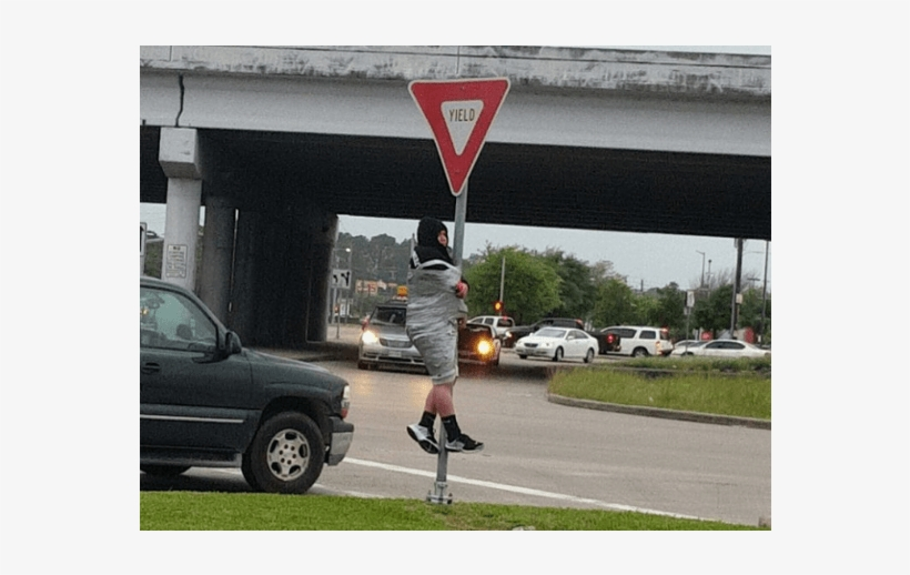 Houston Police Free Man Who Was Duct Taped To Yield - Antifa Duct Taped To Sign, transparent png #1615329