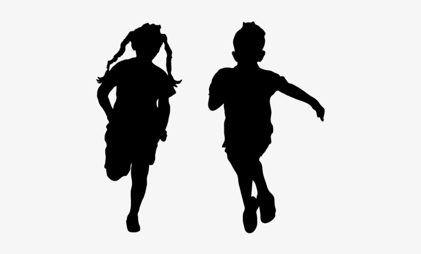Children Running Silhouette Transparent - Kids Running Silhouette, transparent png #1623214