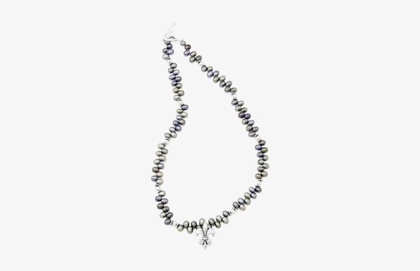 Fleur De Lis Freshwater Pearl Necklace - Mignon Faget Fleur De Lis Freshwater Pearl Necklace, transparent png #1623790