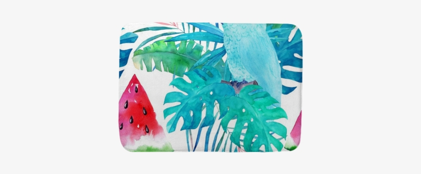 Summer Pattern With Watercolor Parrot, Palm Leaves - Watercolor Painting, transparent png #1624572