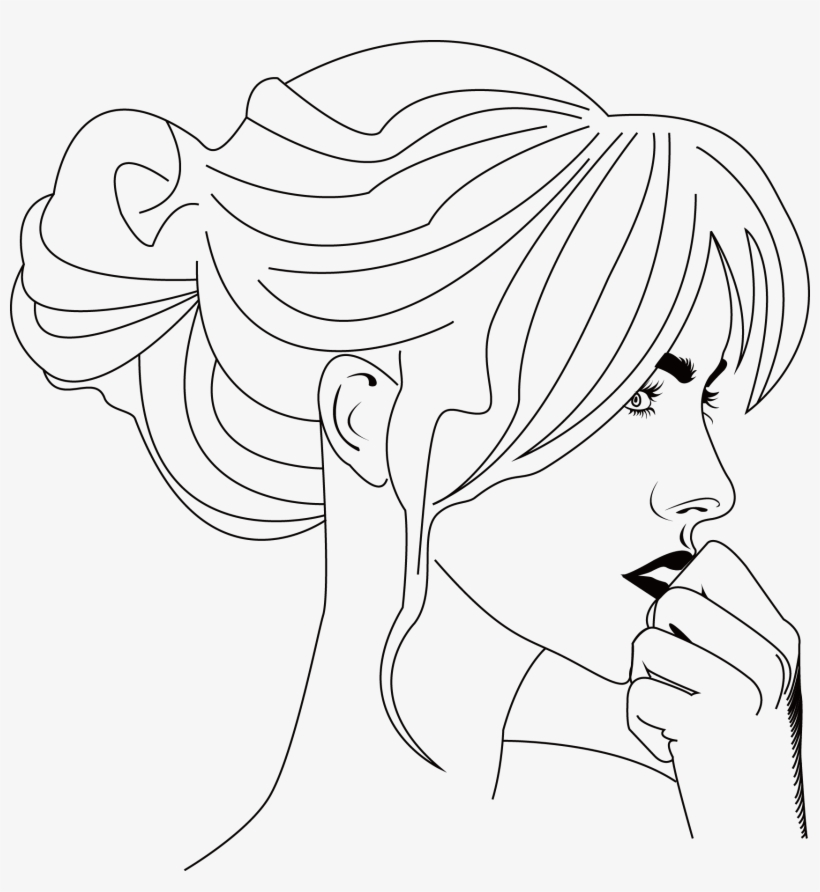 Black And White Cartoon Face Clip Art - Cartoon Woman Side Face Painting, transparent png #1626464