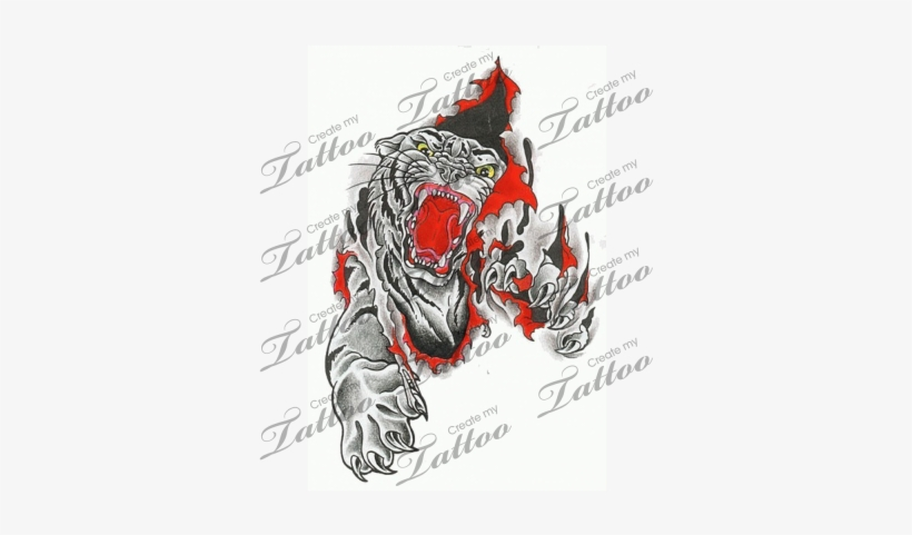 a61cfc64f Marketplace Tattoo Tiger Tearing Flesh - Tiger Ripping Outta Skin ...