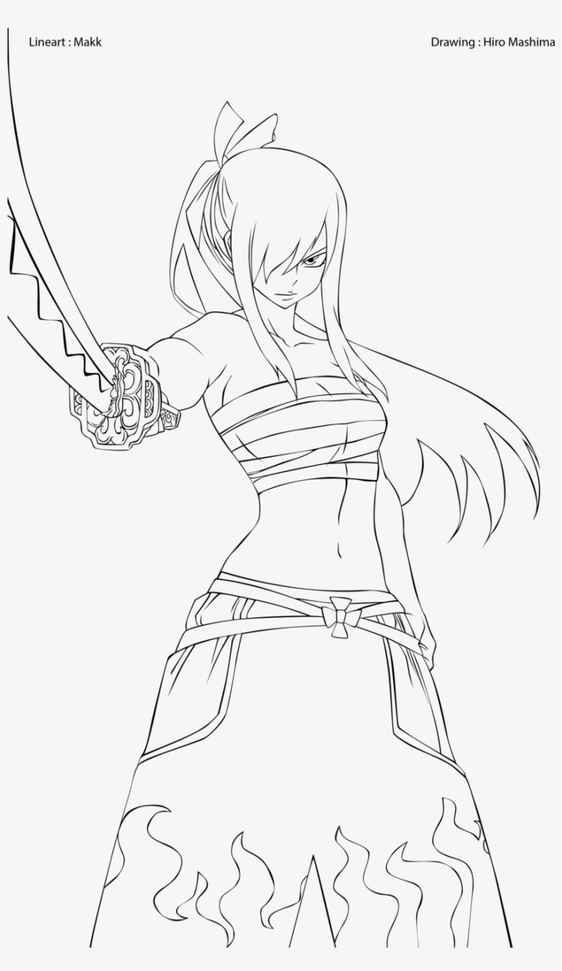 Erza Scarlet Coloring Pages Fairy Tail Erza Scarlet Coloring