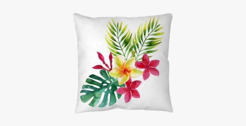 Plumeria Flowers In Watercolor Floor Pillow • Pixers® - Art Print: Tanycya's Tropical Leaves, 61x46cm., transparent png #1628054