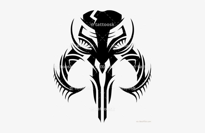 Star Wars Mandalorian Skull ❥❥❥ Http - Tribal Star Wars Tattoo, transparent png #1628825