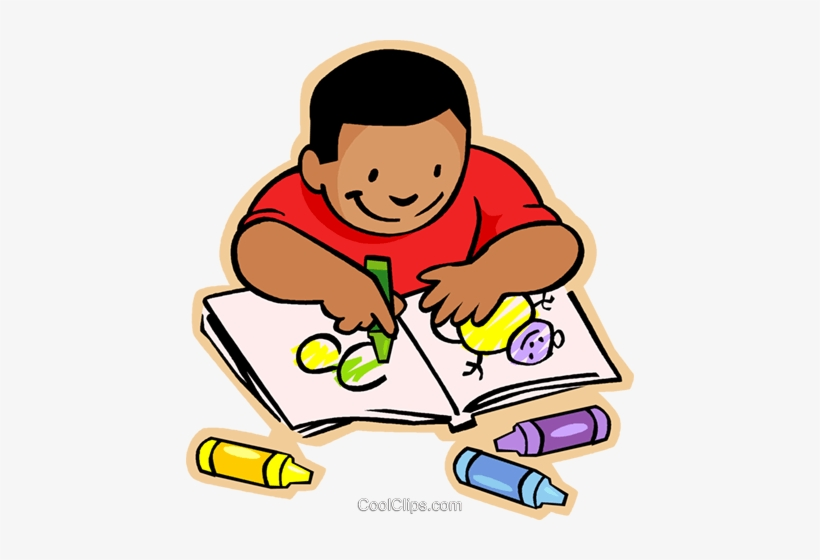 Little Boy With Crayons And Coloring Book Royalty Free - Coloring Book Clipart, transparent png #1629016
