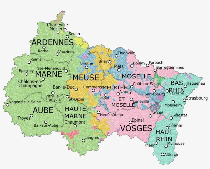 Carte De La Région Avec Ses Départements, Montrant - Région Grand Est, transparent png #1629651