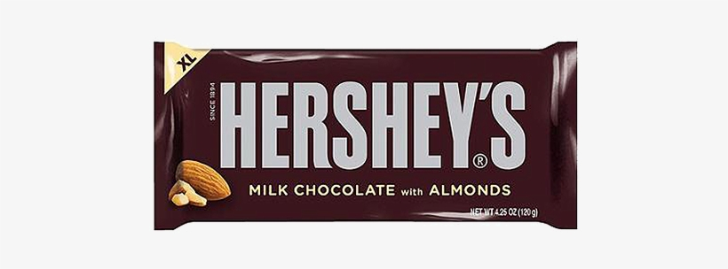 Hersheys With Almonds King Size - Hershey Milk Chocolate Almonds, transparent png #1632119