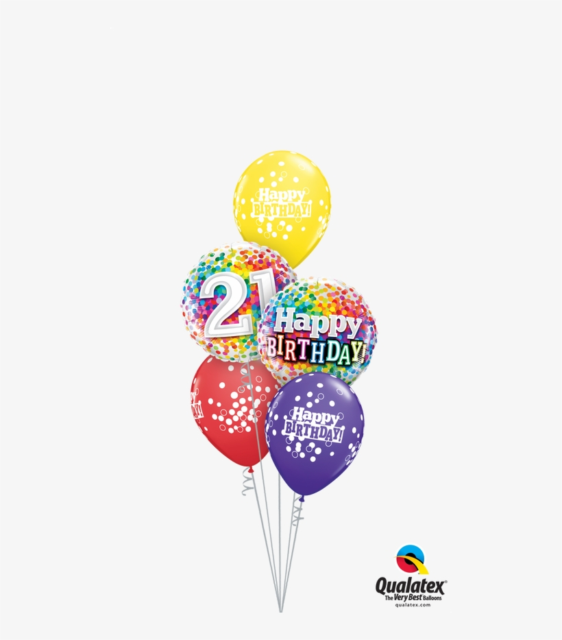 A Beautiful Arrangement Of Birthday Confetti Balloons - 18' Happy Birthday Rainbow Confetti Round Foil Balloon, transparent png #1634221