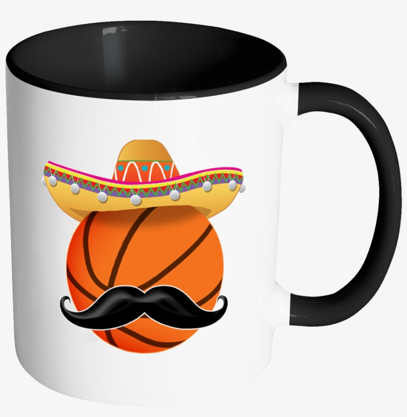Funny Basketball Mustache Mexican Sport - Birthday Cup For Wife, transparent png #1635728