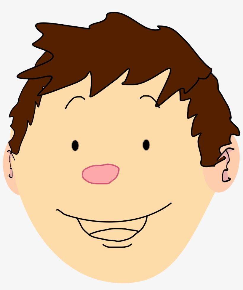 Brown Hair Clipart Boy Head - Boy Brown Hair Cartoon, transparent png #1635861