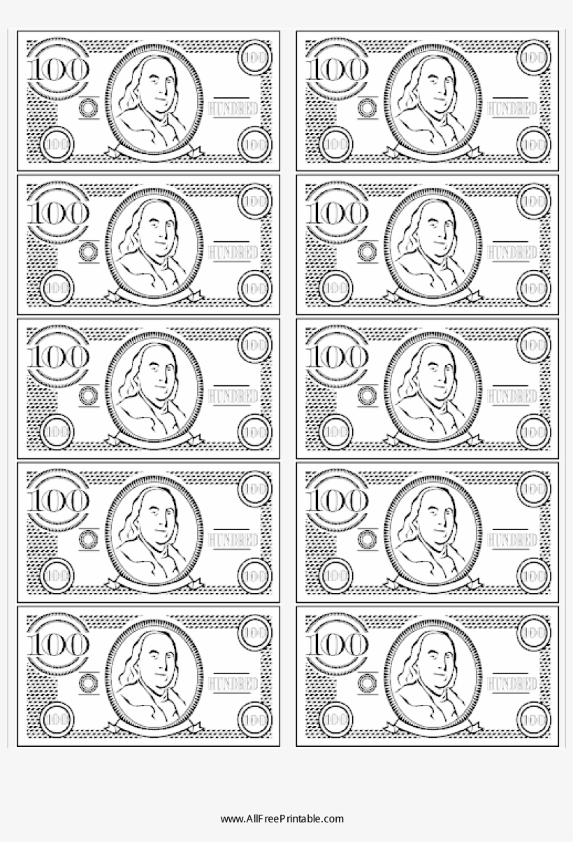 image relating to Fake 1000 Dollar Bill Printable referred to as 100 Monthly bill Bogus Fiscal Primary Impression - Printable Enjoy Monetary Black