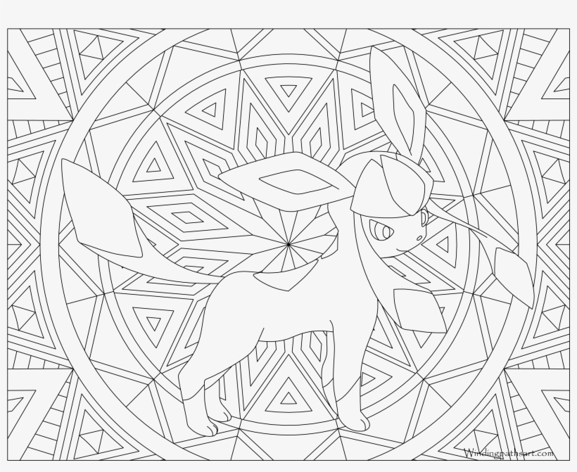 #471 Glaceon Pokemon Coloring Page - Coloring Pages Adults Pokemon, transparent png #1640862