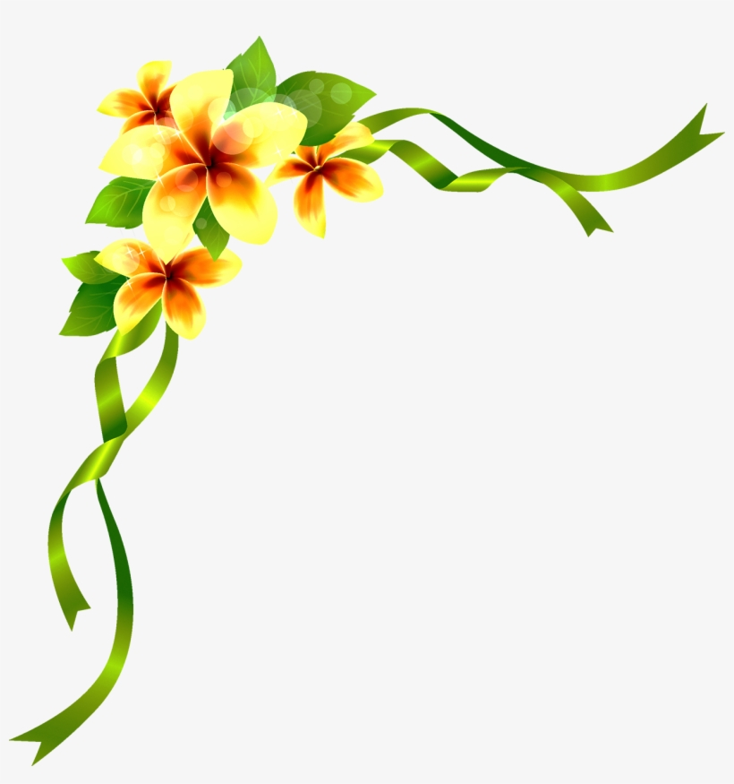 Brush Flower Drawing - Corner Flower Border Designs, transparent png #1645717