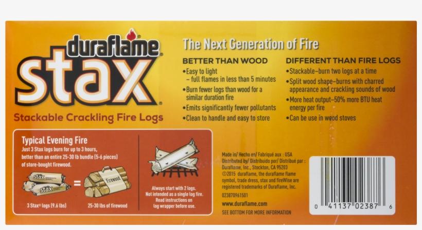 Duraflame® Stax® Stackable Crackling Firelogs Indoor-outdoor, - Duraflame Stix Multi Use Firestarters 4/12/2.5oz, transparent png #1647884