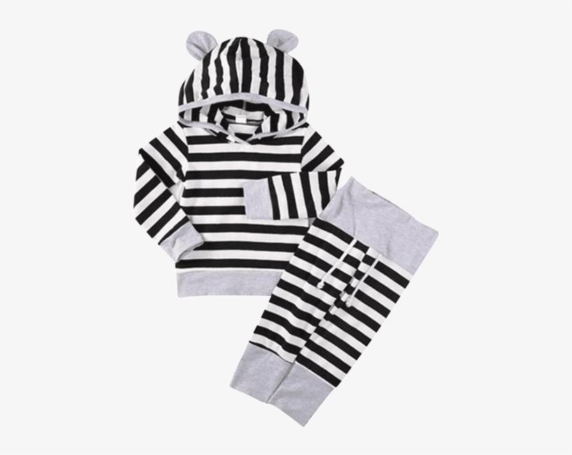e117b70a9ef1 Petite Bello Clothing Set 0-6 Months Black Stripes - Calça Listrada Para  Bebe