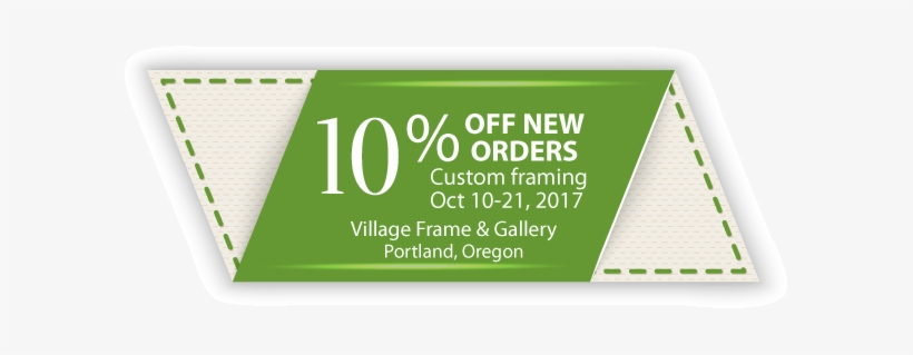 Coupon For 10% Off New Custom Framing Orders Oct - Village Frame & Gallery, transparent png #1651937