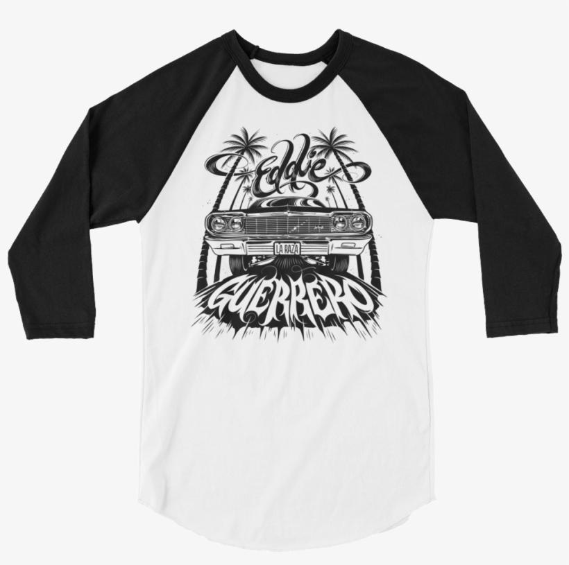 "Eddie Guerrero ""lowrider"" 3/4 Sleeve Raglan T-shirt - Baseball Mom Life Shirt, transparent png #1656025"
