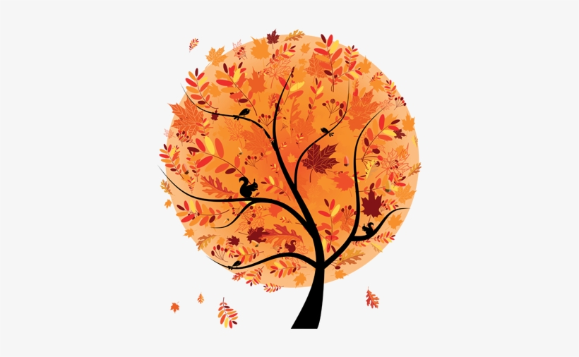 Autumn Tree Design Wall Sticker 604 - Abstract Falling Leaves, transparent png #1657654