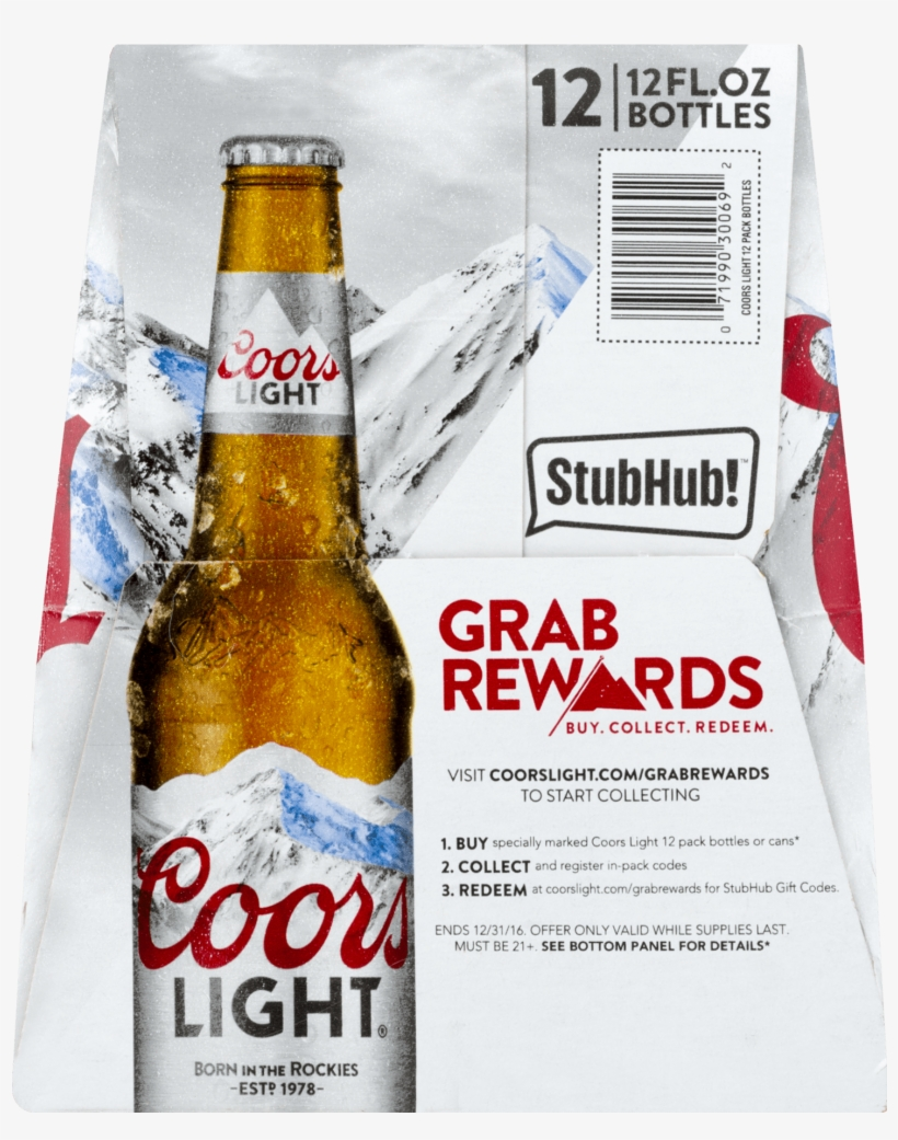 Free Coors Light Grab Rewards Codes Centralroots Com - Coors Light Beer - 12 Pack, 12 Fl Oz Cans, transparent png #1661315