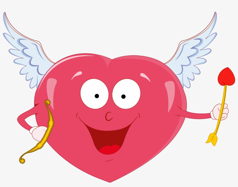 Vector Freeuse Download Valentine Heart With Cupid - Valentine Heart And Cupid, transparent png #1665429