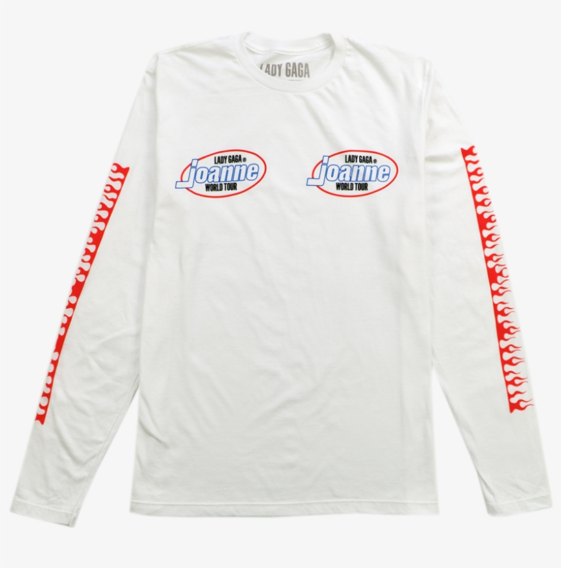 Flames White Long Sleeve T Shirt Lady Gaga Joanne World Tour Logo