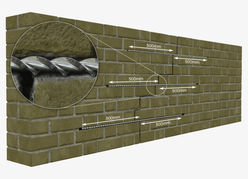 Specification For Brick Stitching - Reinforcing A Cracked Wall, transparent png #1680785