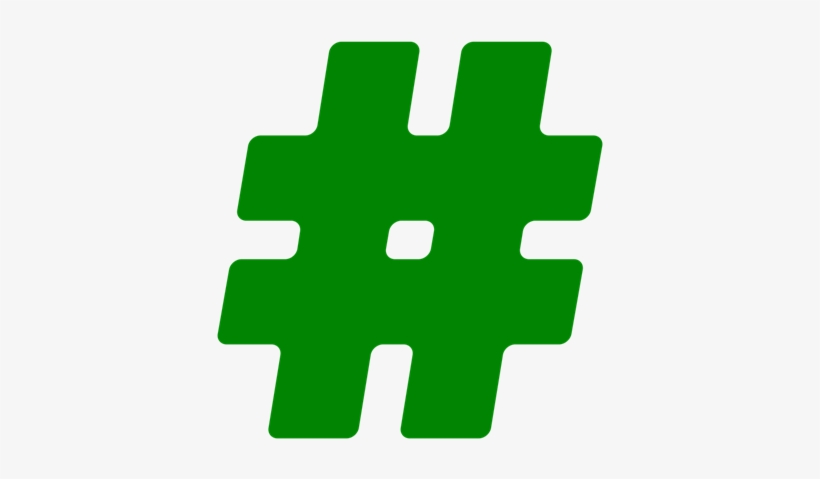 Green - Hashtag, transparent png #1687154
