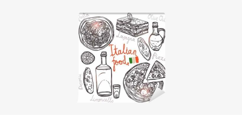 Pizza, Pasta, Lasagna, Olive Oil In Sketch Style - Lasagna Vintage Vector, transparent png #1687553
