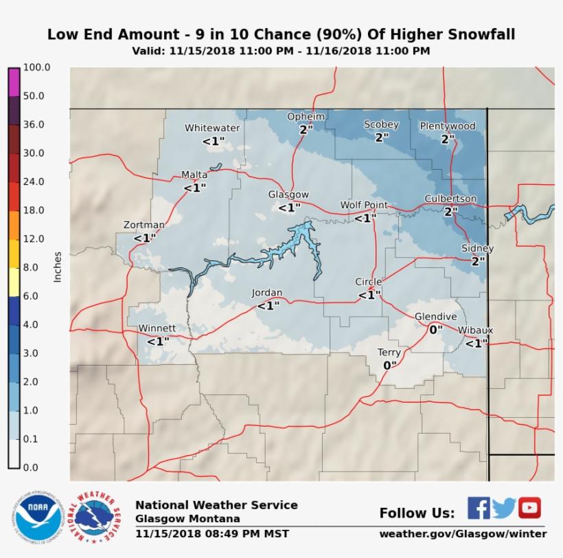 Minimum Potential Snow Accumulation - National Weather Service, transparent png #1688097