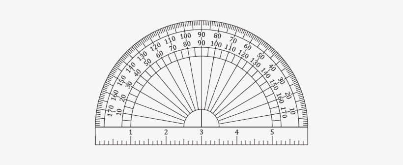 Printable Protractors And Ruler - Protractor Actual Size Full Circle, transparent png #1690075