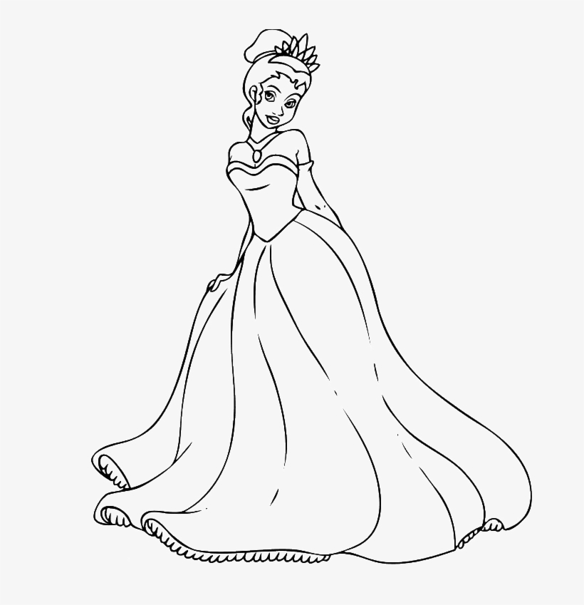 Princess Tiana Coloring Pages - Easy Disney Princesses Drawing, transparent png #1690152