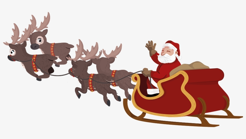 Santa Transparent Sleigh - Santa Claus Sleigh Png, transparent png #1699681