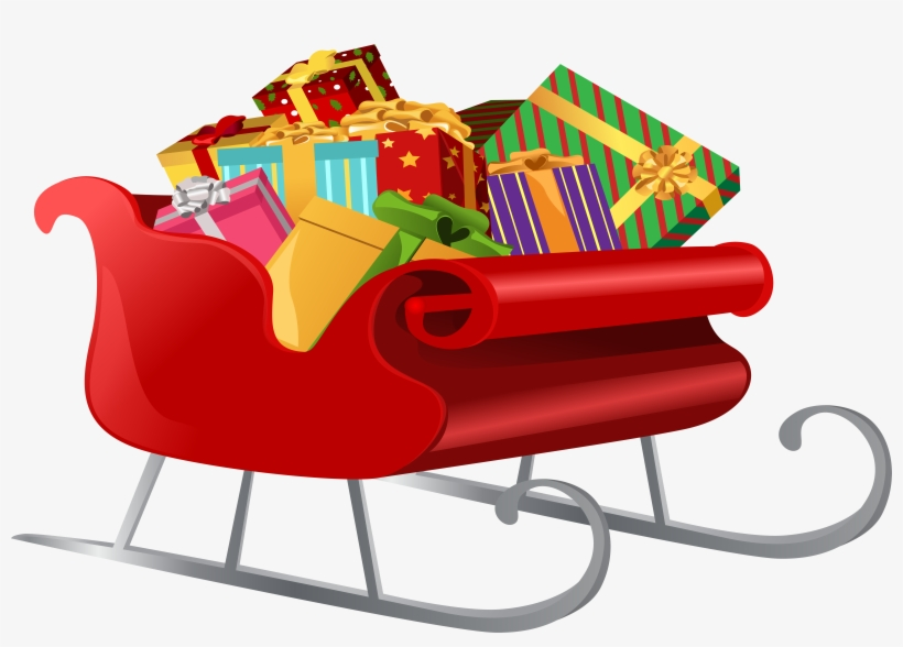 Santa Sleigh With Gifts Png Clip Art Image - Santa Sleigh With Presents Clipart, transparent png #1699757