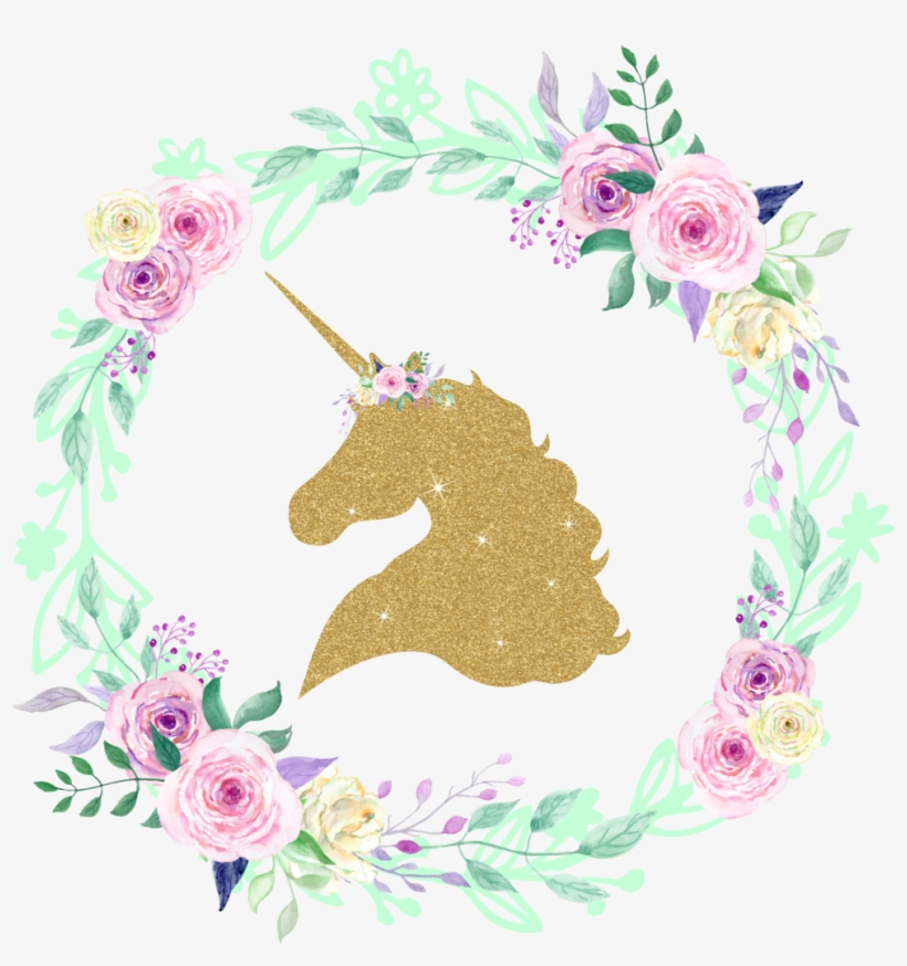 Gold Glitter Unicorn Center Floral Wreath Iron On - Glitter Unicorn, transparent png #171901