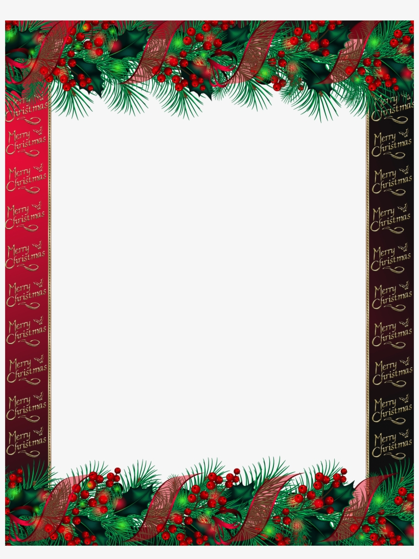 Red Merry Christmas Png Photo Frame - Merry Christmas Png Frame, transparent png #172134