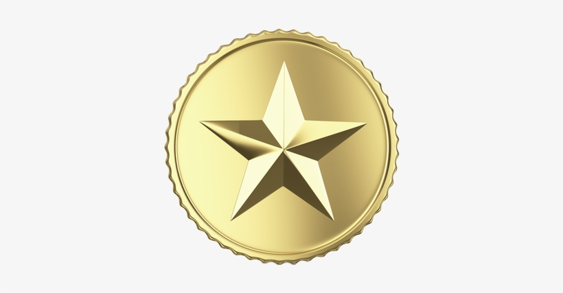 Gold Star In A Circle, transparent png #173761