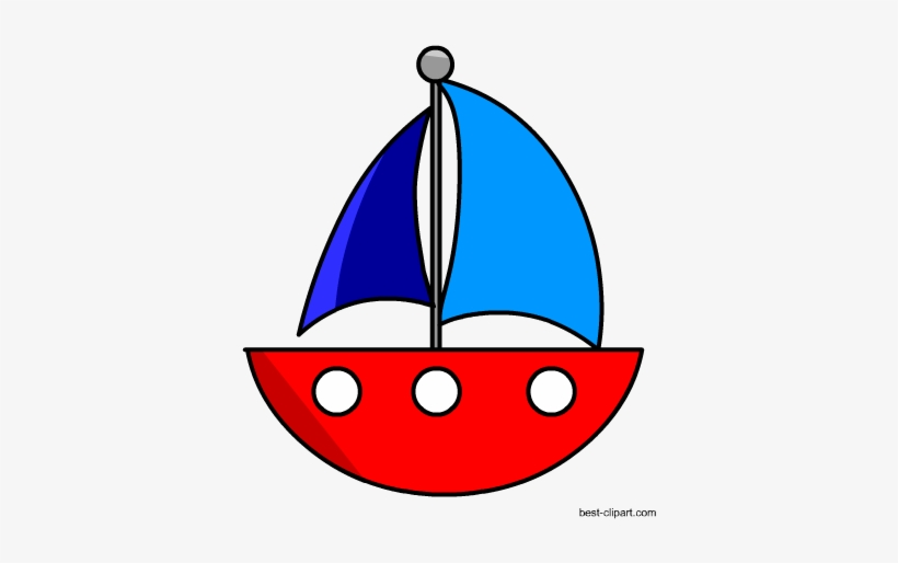 Cute Free Red And Blue Sail Boat Clip Art - Blue Boats Clip Art, transparent png #176393