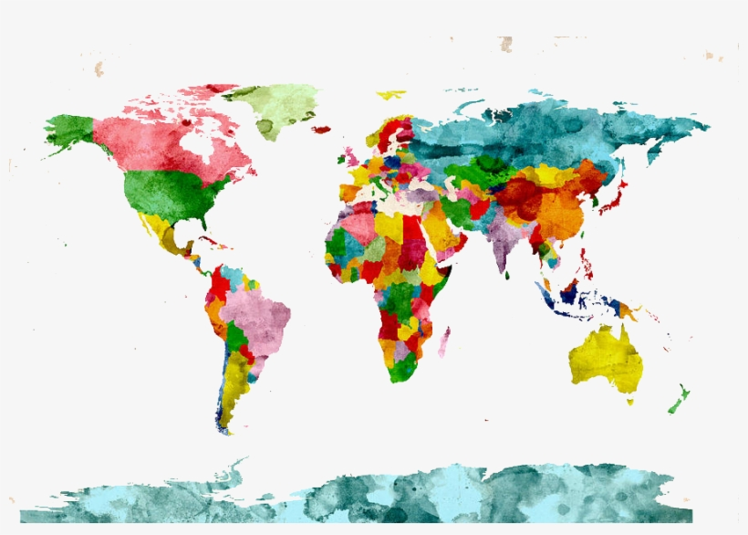 1 - World Map Watercolor, transparent png #176869