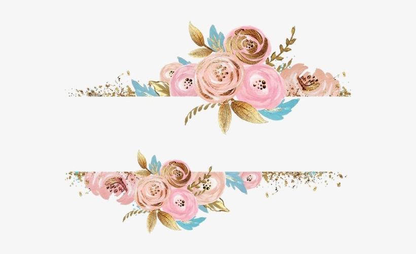 Rose Gold Flower Png Pink Flowers Dress Rectangular - Watercolor Flower Gold Png, transparent png #177323