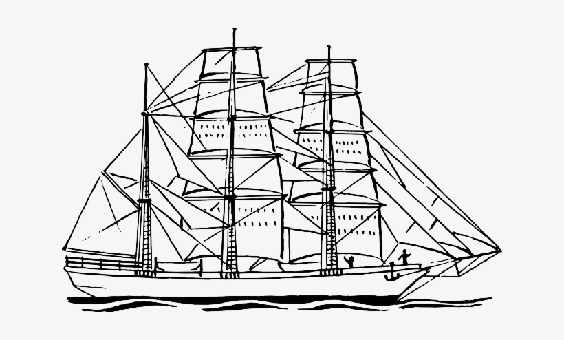 Sailing Navy Ship Sailboat Boat Pirate Ocean - Ship Clipart Png Black And White, transparent png #178913
