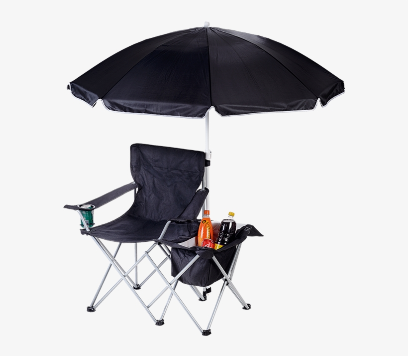 Camping Chair With Umbrella And Cooler Br0049 - Folding Chair With Umbrella And Cooler, transparent png #1700498